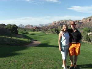 David & MrsG on the 10th tee at Sedona Golf Resort, AZ, USA.