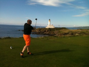 Teeing off on the 9th hole on the Ailsa Course at Turnberry